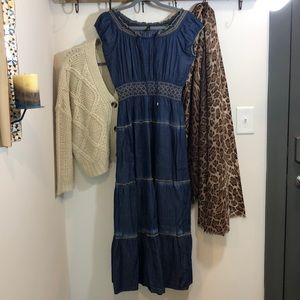 SALE Anthropology LAPIS Denim Full Maxi Long Dress